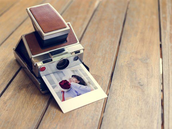 Vintage retro instant photo camera
