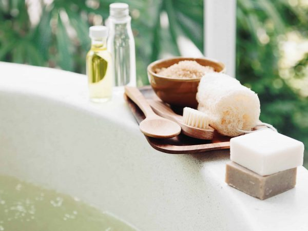 Spa decoration, natural organic products on a bath.
