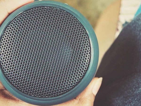 Selfie of bluetooth speaker on hand