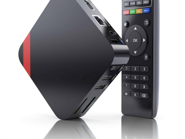 70336160 – multimedia and tv box receiver and player with remote controller – 3d illustration