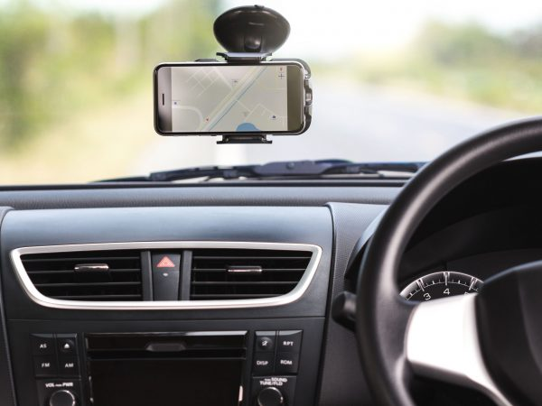 gps navigation map on phone in traveling car