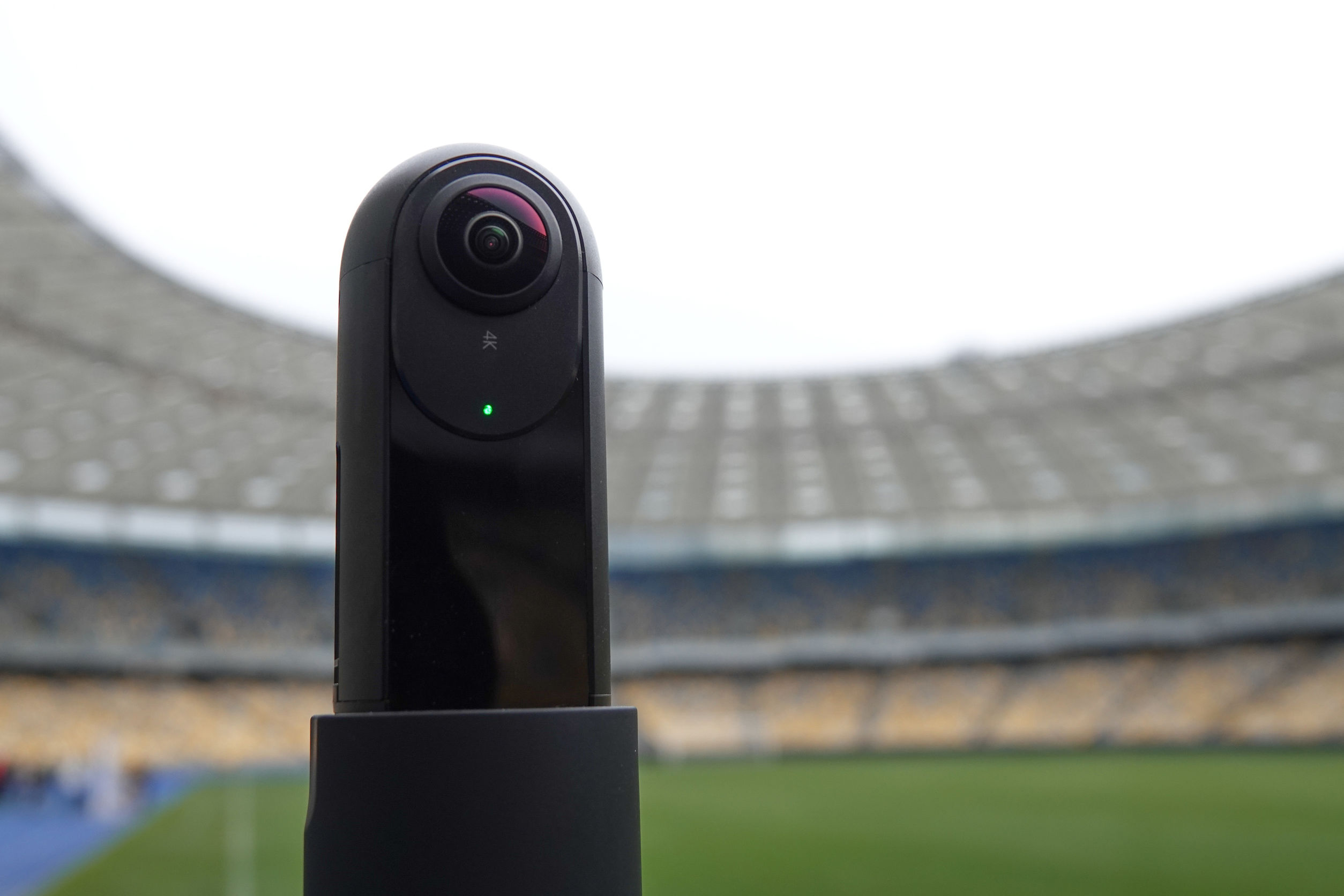 The camera that shoots 360 degrees in the background of the stadium.