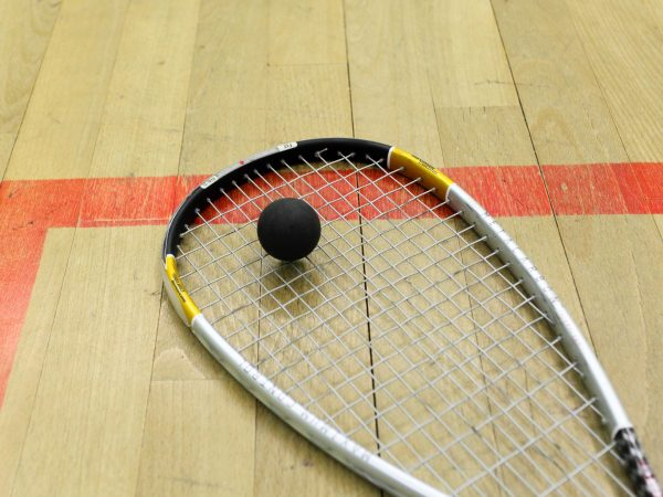 17745674 – squash court and racket with ball