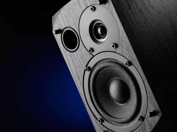 22001736 – multimedia speaker system with different speakers closeup over black background