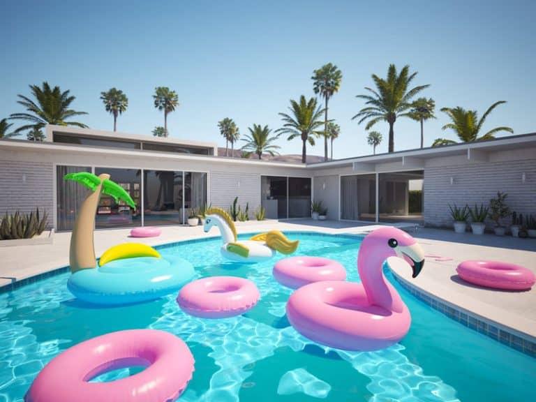 Flotadores gigantes en piscina