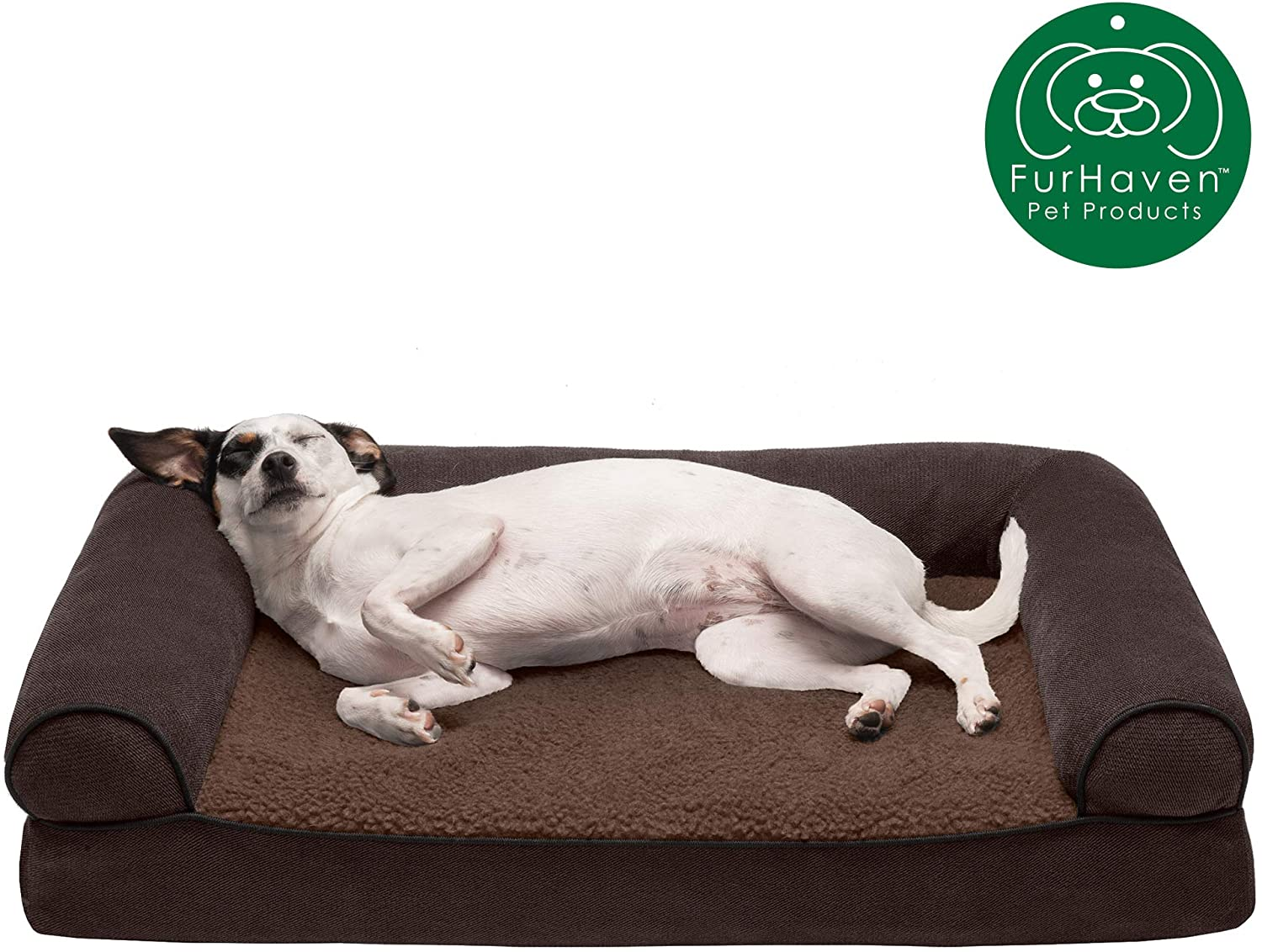 FurHaven Small Quilted Orthopedic Sofa Pet Bed for Dogs and Cats, Wine Red, Coffee