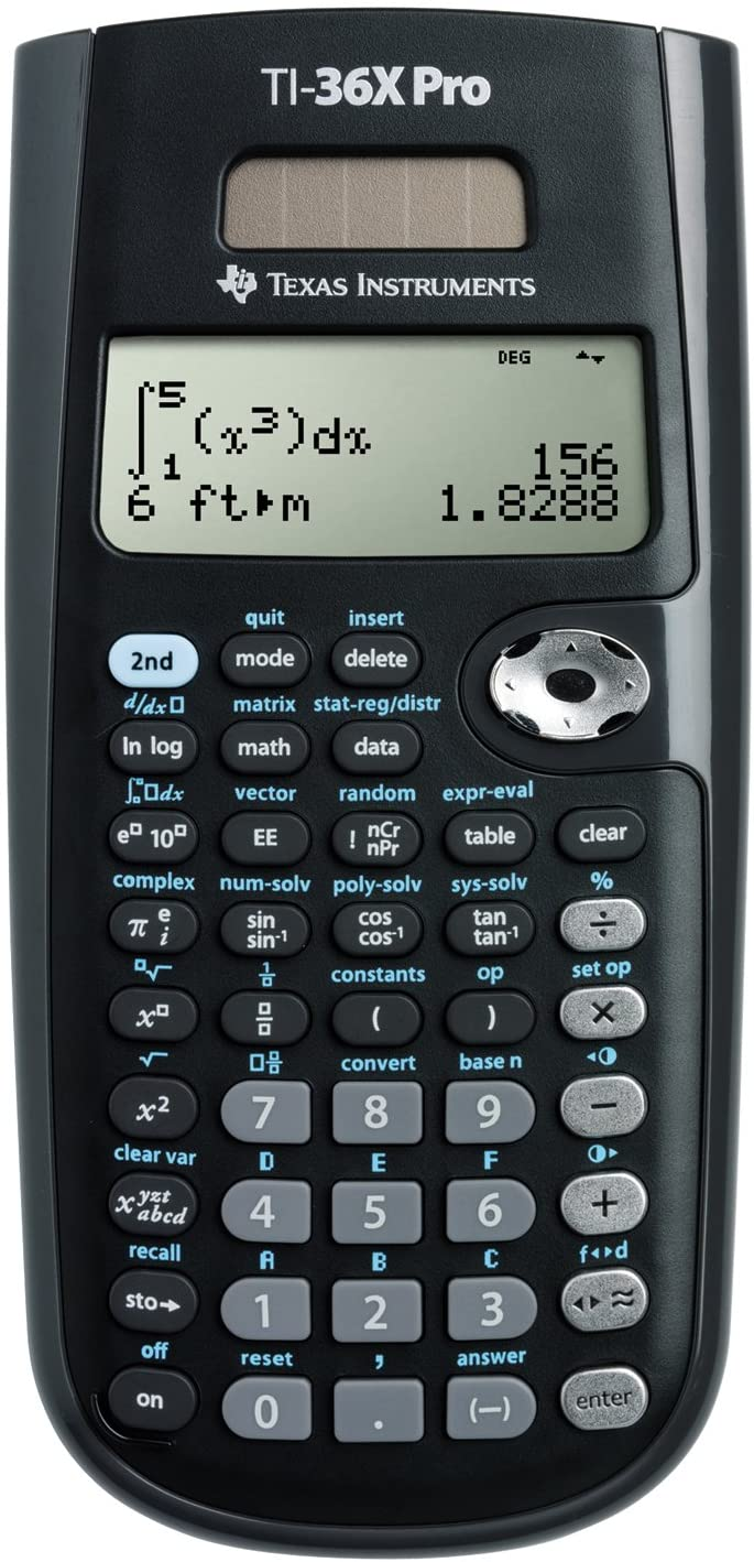 Texas Instruments TI-36X Pro-Calculadora (Solar, Scientific Calculator, Negro)