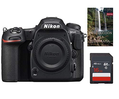 Cámara Nikon D500 (Solo Cuerpo) DSLR, Formato DX, 20.9mpx 4K UHD + Tarjeta SDHC de 16Gb UHS-I