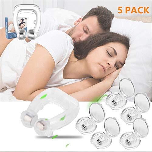 5 pack Antironquidos Clip Nasal Magnético, Dilatador Nasal para Detener los Ronquidos, Facilitar la Respiración y Dormir Cómodo (5pack)