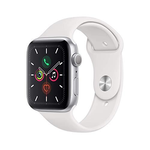 Apple Watch Series 5 GPS (renovado), Correa Deportiva Blanca, 40mm, Caja de Aluminio Plateado.