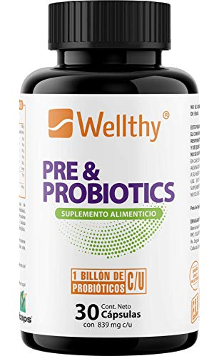 PRE & PROBIOTIC Prebiótico y Probiótico de 30 cápsulas con Tecnología Duocap (cápsula dentro de una cápsula) ideal para Balancear, Mejorar, Nutrir el Sistema Inmune y Estomacal