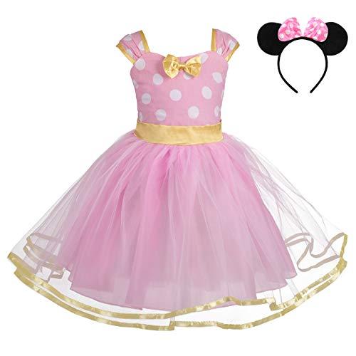 Lito Angels Disfraz de Halloween para niña pequeña con lunares Vestidos De Fiesta De Cumpleaños De Tul con aro para el pelo 4-5T color rosa