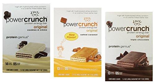 Power Crunch Barrita energética de proteínas, paquete variado, 15 barras – 1.4 oz (40 g) barras, Triple chocolate/caramelo salado/galletas y crema