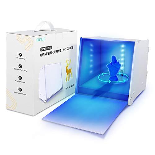 Upgraded Caja de luz de curado de resina UV para modelo de impresora de resina 3D LCD SLA DLP, caja de curado de resina UV de 405 nm con placas giratorias accionadas, control de tiempo, caja de curado DIY (hazlo tu mismo).
