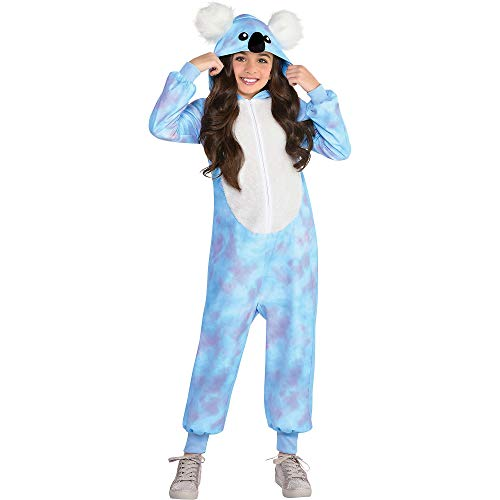 Party City Koala Zipster Disfraz de Halloween para Niñas, Peluquero con Capucha Azul y Púrpura, Mediano (8-10), Multicolor (8405425)