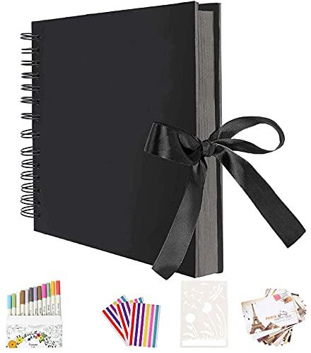 AIOR Album de Fotos Scrapbook Espiral, 80 Páginas Negras (40 Hojas), DIY Álbum de Recortes Original para Boda Aniversario de Boda de Oro Cumpleaños Navidad para Mujer Niña Novia Regalos (Negro)