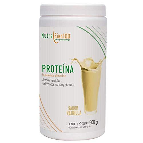 Nutrasien100 | Proteína 21 gr por porción con ingredientes naturales + prebióticos + moringa + BCAAS + vitaminas sabor vainilla | sin azúcar añadida