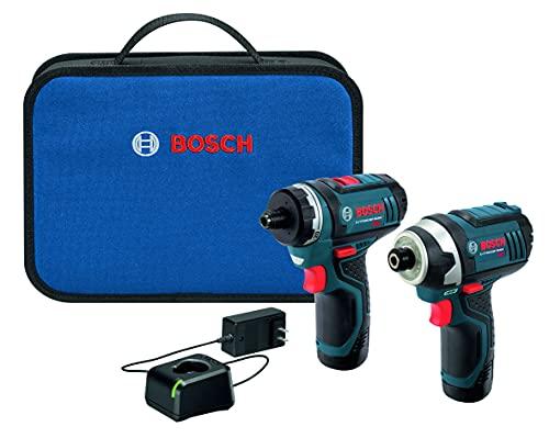 Bosch CLPK27-120 Juego de 2 Herramientas Batería Li-Ion 12 voltios Máx (Taladro/Atornillador y Atornillador de Impacto) con 2 Baterías, Cargador y Estuche