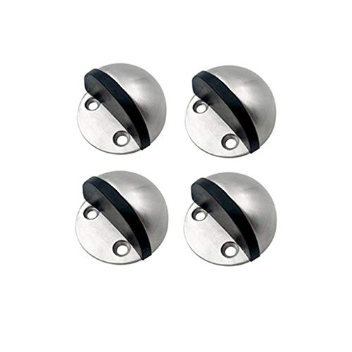 ZCKJ - Tope para puerta con 3 m, acero inoxidable cepillado, níquel satinado, diseño de cúpula, moderno y suave, para hotel, hogar, restaurante, montaje en tierra, 4 unidades