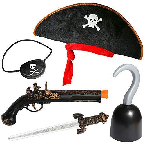 PROLOSO Accesorios piratas para niños, disfraz del Caribe de Halloween para niños y niñas, Buccaneer disfraz, cosplay y escenario, kit de juguete imaginativo