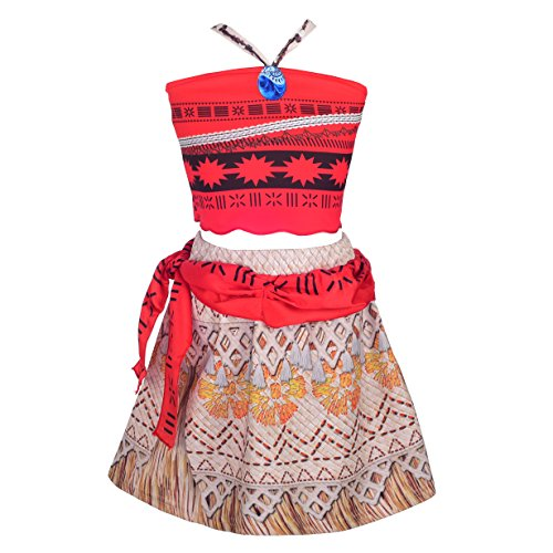 Dressy Daisy - Vestido de Princesa Moana para Niñas, Disfraz de Halloween Fiesta Cumpleaños Ropa Casual Verano, Conjunto de 2 Piezas de Top Halter y Falda, Talla 5 a 6 Años
