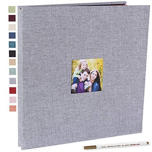 Vienrose Álbum de fotos autoadhesivo magnético para álbumes de recortes, 40 páginas magnéticas de doble cara, tela de tapa dura, álbum de fotos de 28 x 33 cm de largo, con un bolígrafo metálico