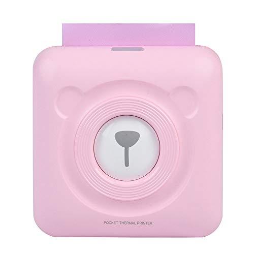 ASHATA 57MM Bluetooth Inalámbrico Impresora Térmica de Recibos, Mini Portátil Impresora de Etiquetas de Bolsillo, Carga USB para iOS Android Windows(Rosa)