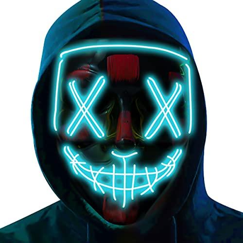 Poptrend Máscara de Halloween con luz LED, máscara de miedo para festivales, cosplay, Halloween, fiestas de máscaras, carnaval, regalo, Azul (Ice), Large