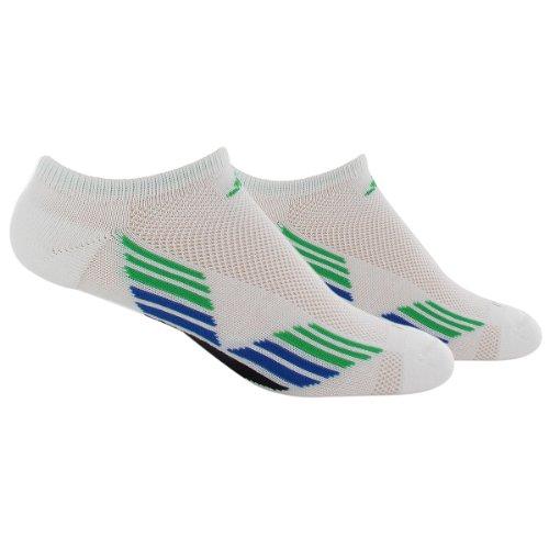 adidas Men 's Climacool X II no show calcetines (2-Pair), White/Vivid Green/Blue Beauty/Black, 6-12
