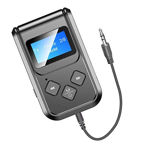 Receptor de transmisor Bluetooth 5.0 para TV, GaoMee 3 en 1 inalámbrico Bluetooth con pantalla LED, receptor de audio Bluetooth de 3,5 mm para coche, PC, sistema de sonido estéreo para el hogar