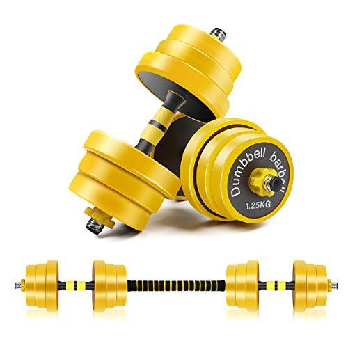 CDCASA - Mancuernas ajustables, juego de peso libre de 20 kg, mancuernas 2 en 1, sólido y configurable con cubierta protectora de goma, fácil montaje y ahorro de espacio, equipo de gimnasio en casa para hombres y mujeres