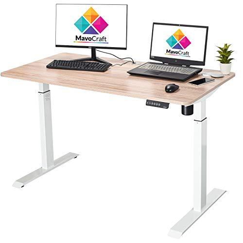 Escritorio eléctrico de altura ajustable de 55 pulgadas, escritorios ajustables para oficina en casa y área de estudio, escritorio de oficina de pie con controlador de ajuste de altura y ojales para gestión de cables