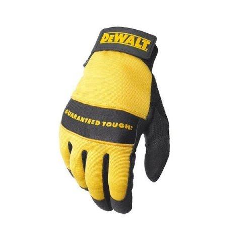 DEWALT Guante de trabajo multipropósito con palma de cuero sintético, dorso de elastano y cierre de velcro Negro y amarillo/Negros