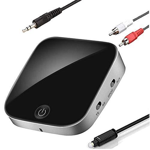 Receptor transmisor Bluetooth V5.0,GaoMee 2 en 1 Aux Inalámbrico 3,5 mm Adaptador de audio inalámbrico para TV Audio Receptor inalámbrico portátil para sistema estéreo de coche/hogar
