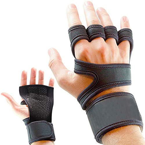 Guantes para entrenamiento y gimnasio, CoWalkers guantes de levantamiento de pesas con soporte para la muñeca para ejercicios, entrenamiento cruzado de gimnasia y levantamiento de pesas - relleno de silicona para evitar callos - trajes para hombres y mujeres, agarre fuerte (Large 20-23cm)