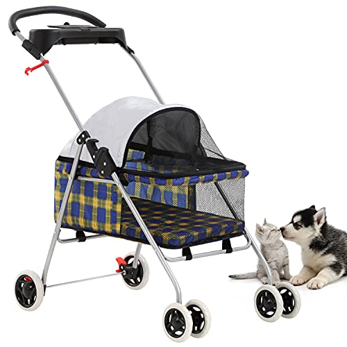 New BestPet Yellow Plaid Posh Pet Stroller Dogs Cats w/Cup Holder by BestPet