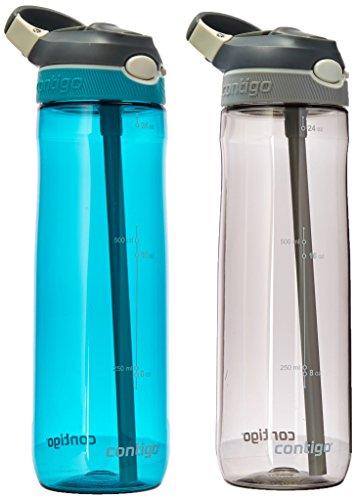 Contigo AUTOSPOUT® - Botella de agua con sorbete interno, Smoke & Scuba 2-Pack, Paquete-de-2, 1