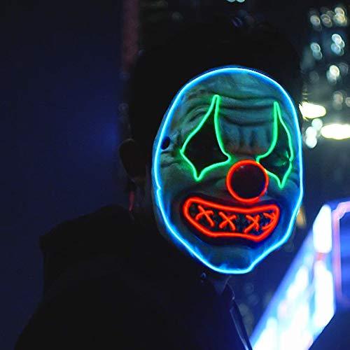 Máscara de payaso LED para Halloween, máscara de purga iluminada, disfraz de cosplay para hombres y mujeres (máscara de payaso con O)