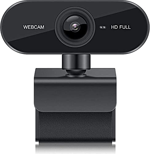Cámara web 1080P HD con micrófono, giratoria de 360 grados que protege la privacidad, audio estéreo claro USB PC Cámara para computadora Funciona con Skype, Zoom, FaceTime, computadora portátil / Mac / MacBook / PC