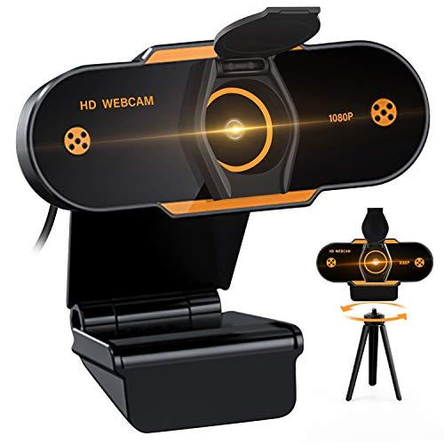 (2021 Nuevo modelo) Cheelom Video Cámara Web1080P Trípode Full HD USB,Webcam de Conferencia USB Ajustable con Micrófono Incoprado Computadora Portátil Cámara para OBS Xbox XSplit Skype Facebook Compatible con Mac OS Windows 10/8/7