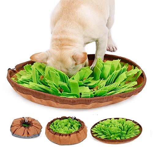 Pet Snuffle Mat para perros, Dog Puzzle Toys, Juego de alimentación interactiva para aburrimiento, Fomenta las habilidades de alimentación natural para gatos Uso en viajes de Bowl Bowl, Manta de entrenamiento para olores de perros Manta de trabajo de nariz, Verde