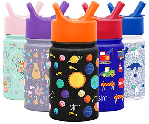 Simple Modern SMC-S-10-SLRS - Botella de agua para niños, termo con tapa de pajita, apto para lavaplatos, doble pared, aislada al aspiradora, vaso de viaje 18/8, acero inoxidable, sistema solar