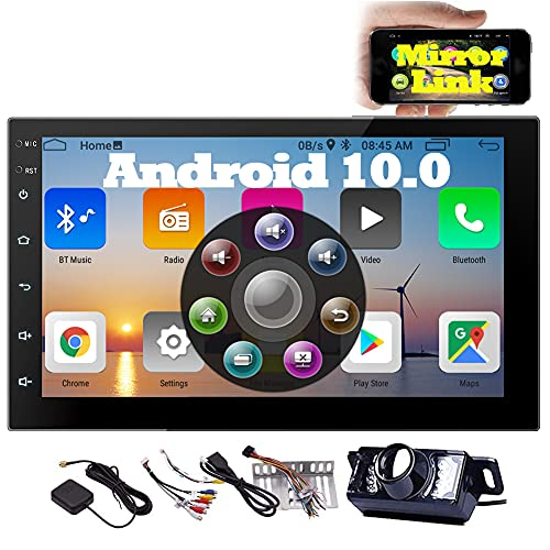EINCAR - Radio estéreo para coche Android 10.0 con cámara de seguridad en el salpicadero, receptor de radio Bluetooth de 7 pulgadas, 2 DIN, compatible con GPS, WiFi, enlace de espejo USB, FM 1080P, vídeo SWC