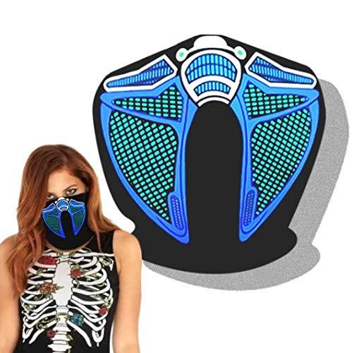 Máscaras de música LED activadas con sonidos para fiestas de música rave y baile, máscara facial ajustable para mujeres y hombres, accesorios de fiesta de Halloween