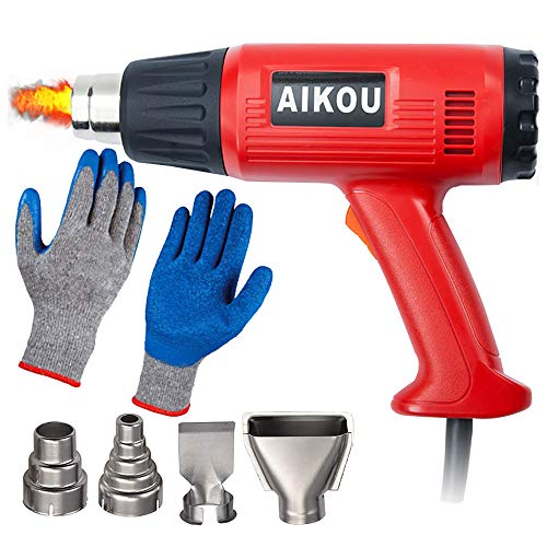 Kit de herramientas para pistola de aire caliente de 2000 W (4 boquillas y guantes resistentes al calor) con modos de temperatura dual para envolver manualidades, pelar pintura, tuberías de soldadura, encogimiento de pintura de PVC