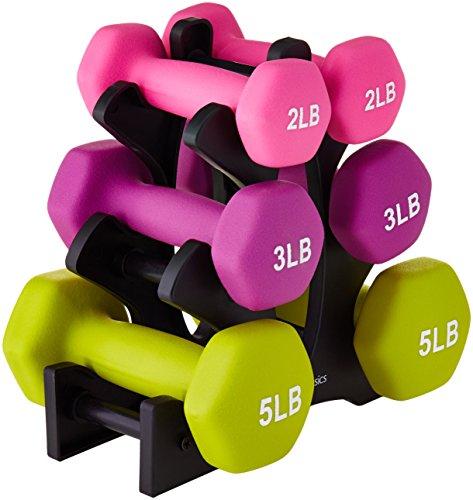 Amazon Basics - Juego de pesas con soporte, 0.9 kg, 1.4 kg y 2.3 kg