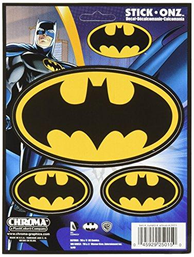 Chroma Calcomanías adhesivas con logotipo de Batman 25015, 3 unidades, color negro y dorado