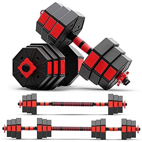 zybeauty Mancuernas ajustables, juego de peso de 20 kg (20 kg), mancuernas octogonales antibalanceo a barras con varilla de conexión, equipo de gimnasio 3 en 1 para hombres y mujeres