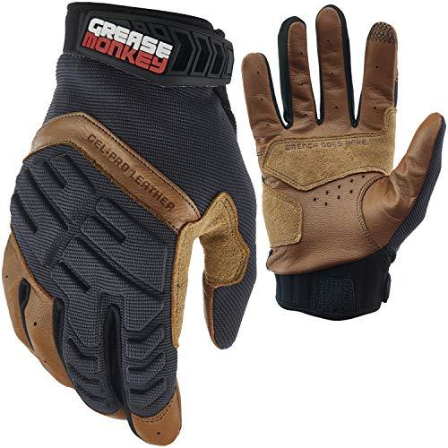 Grease Monkey Gel-PRO Guantes de cuero híbridos mecánicos, guantes de trabajo de piel con protección contra impactos de gel y capacidad para pantalla táctil, tamaño mediano