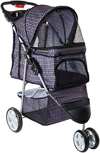Oxgord Elite Cochecito Plegable de 3 Ruedas para Mascotas, Gato o Perro, para Viaje, Facilita el Caminar, en Azul con patrón Rayado